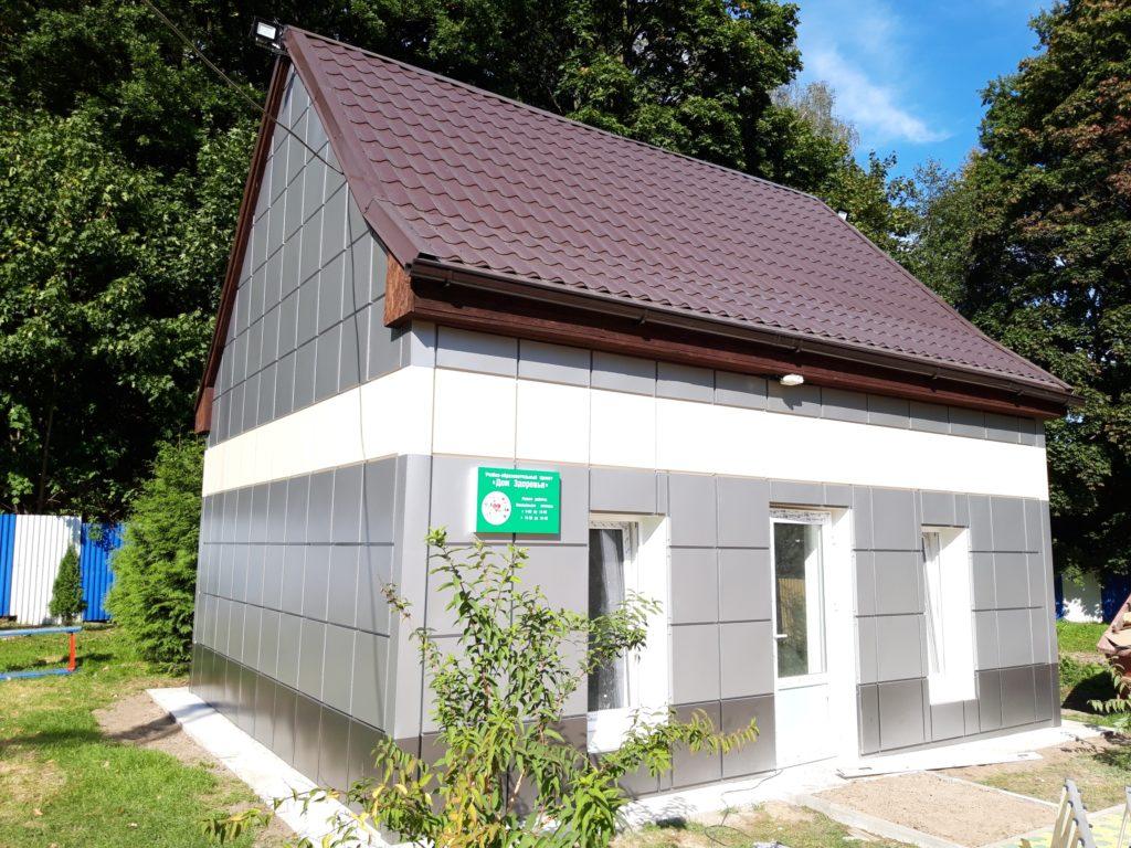 Детский сад. Вентилируемый фасад из стальных кассет. Посёлок Холмогоровка, Зеленоградский район.